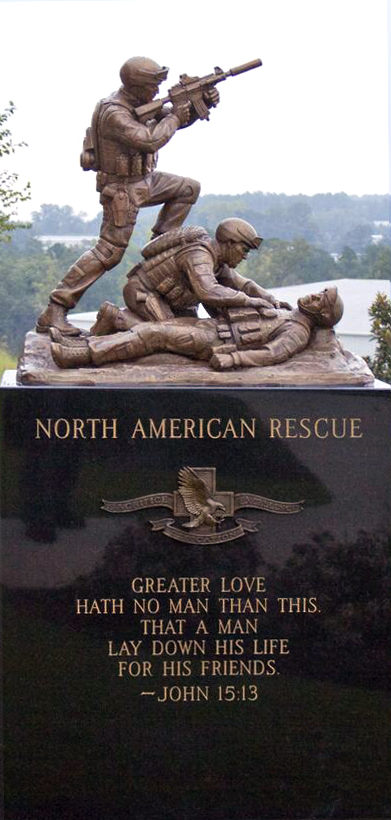North American Rescue-Greer, Sc-Custom Sculpture of Ranger Medics and Bas Relief-Cast in Bronze-Etching on Black Granite -Buccacio Sculpture Services and Foundry