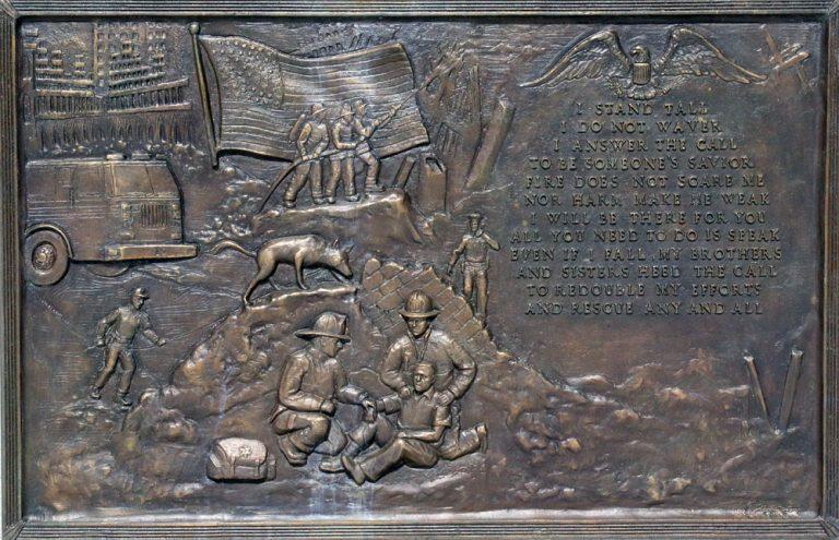 Natick-MA-9-11-Custom Memorial Cast Bronze Plaque and Monument-Buccacio Sculpture