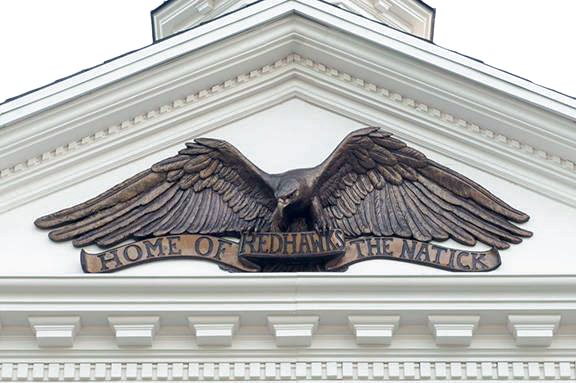 Natick, MA High School-Custom Sculpted Eagle and Banner Cast in Bronze-Buccacio Sculpture Services
