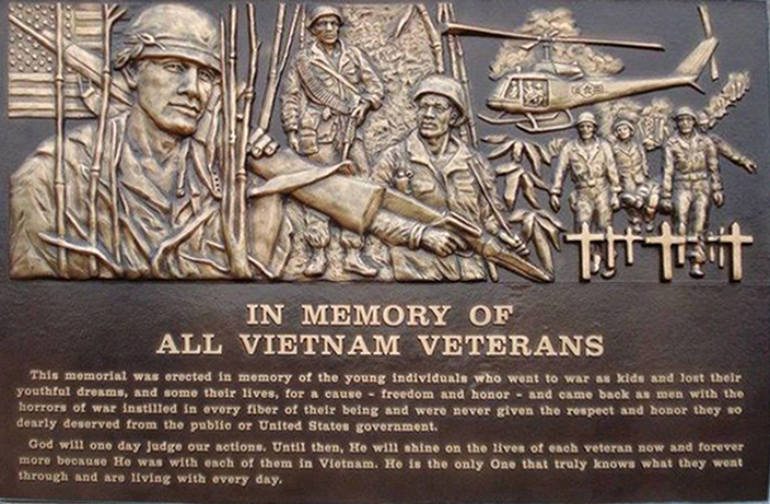 In Memory of Vietnam Veterans-Cast Bronze Plaque-Buccacio Sculpture Services and Foundry