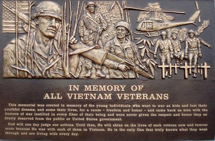 In Memory of Vietnam Veterans-Cast Bronze Plaque-Buccacio Sculpture Services and Foundry